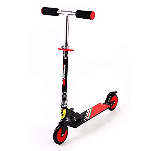 Ferrari Kinder Inline Scooter Tretroller Schwarz | Stahlrahmen Fußbremse Klappbar Lenker höhenverstellbar Alter 3-8 Jahre