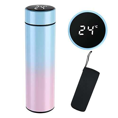 flintronic Taza de Viaje, Termo Taza 500ML Travel Mug, Frasco de Vacío de Acero Inoxidable, Pantalla LED Táctil Inteligente con Temperatura, Térmica de Doble Pared, Aislado al Vacío - Gradiente Verde