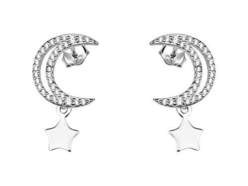 SOFIA MILANI - Pendientes para Mujeres en Plata de Ley 925 - con Circonitas - Pendientes de Estrella de la Luna - 20661