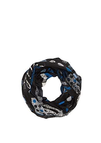 s.Oliver Damen 39.912.91.5430 Mütze, Schal & Handschuh-Set, Schwarz (Grey/Black AOP 99a2), One Size (Herstellergröße: 1)