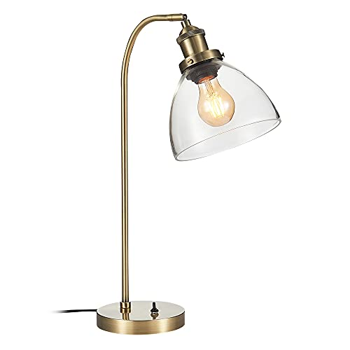 Lámpara de mesa con tulipa campana de cristal y metal oro envejecido...