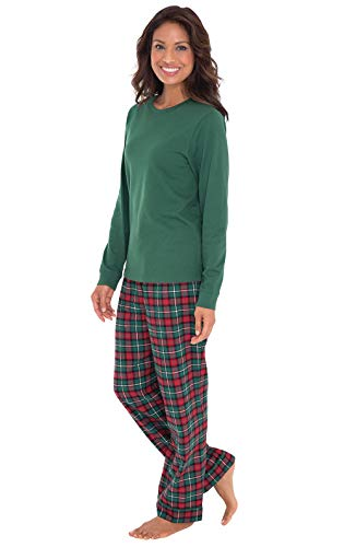 PajamaGram Christmas Pajamas for Women - Flannel Pajamas Women, Green, M, 8-10