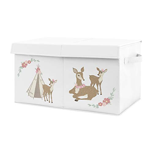 Sweet Jojo Designs Blush Pink  Mint Green and White Boho Girl Baby Nursery or Kids Room Small Fabric Toy Bin Storage Box Chest for Woodland Deer Floral Collection