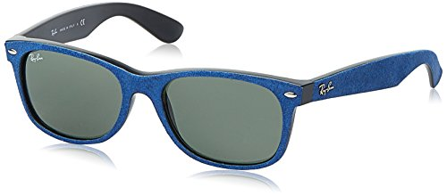 RAY-BAN RB2132 New Wayfarer Sunglasses, Black/Top Black Alcantar/Blue Gradient, 55 mm