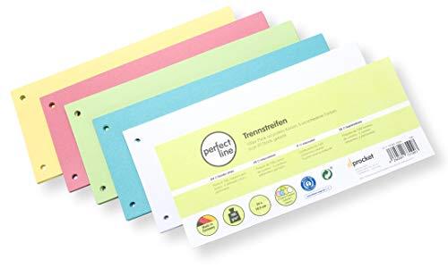 perfect line 100 strisce di separazione di carta da pacchi, separatori registro in 5 lumière colori, 160g/m², perfetta organizzazione per ufficio e casa