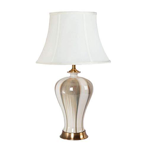 Cerámica tradicional lámpara de mesa de la sala dormitorio escritorio decorativa Lámparas, mármol con Empire Paperback Pantalla de lámpara en forma de blancuzco (68cm * 40cm) lámpara de escritorio