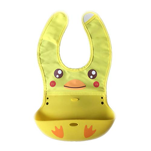 RK-HYTQWR - Baberos de Silicona Impermeables para bebés con Dibujos Animados de Animales, Bolsillo para atrapar Alimentos, Patito Amarillo, Toalla para Saliva de bebé, Patito Amarillo