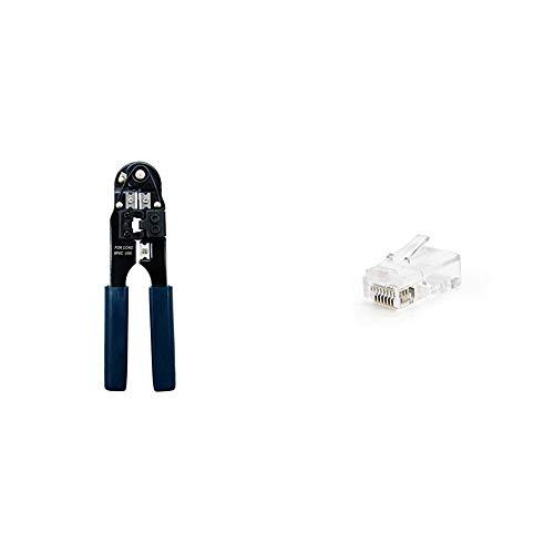 Nano Cable 10.31.0101 Tenaza metálica de crimpar + 10.21.0102-50 Conector para Cable de Red Ethernet RJ45, 8 Hilos Cat.5e UTP, Bolsa de 50 Unidades