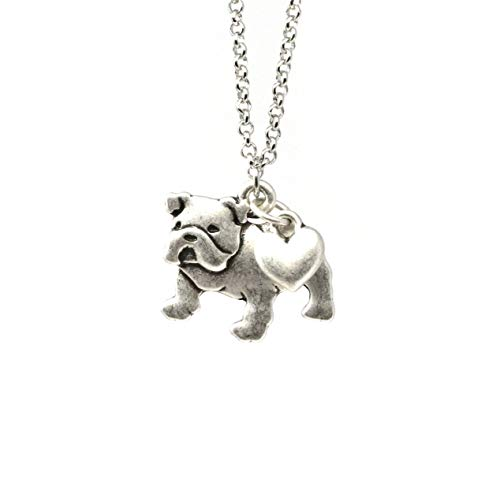 English Bulldog Charm Necklace, Bull Dog Pet Lover Gift, Silver Metal with Heart Pendant on a Chain, Ladies I Love Dawgs Short Hair