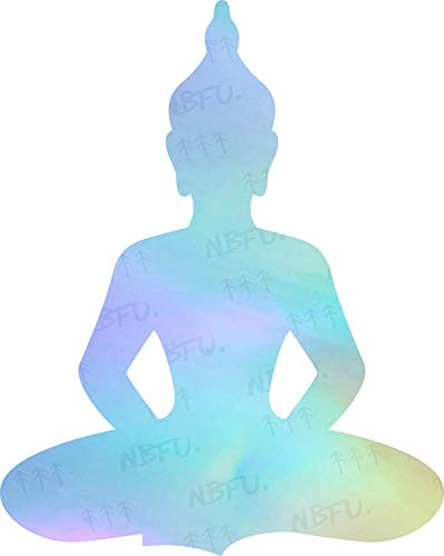 NBFU Decals Buddha Meditation Yoga Buddhist (Hologram) (Set of 2) Premium Waterproof Vinyl Decal Stickers for Laptop Phone Accessory Helmet Car Window Bumper Mug Tuber Cup Door Wall Decoration