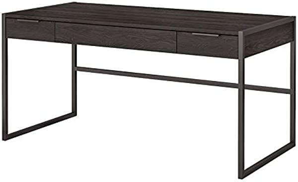 Office By Kathy Ireland Atria 60W Writing Desk With Drawers In Charcoal Gray