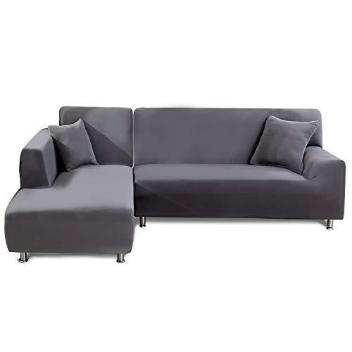 Feilaxleer Sofa Überwürfe Sofabezug Elastische für L Form Sofa Rechts/Links,Sofabezug Ecksofa Spannbezug(4 Sitzer+3 Sitzer,Grau)