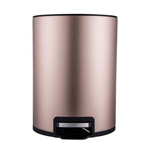 GWFVA Dustbin, vuilnisbak met enkel pedaal gemaakt van roestvrij staal, rond, breed Europees huis, woonkamer, keuken, bad (kleur: champagne, afmeting: 6 liter)