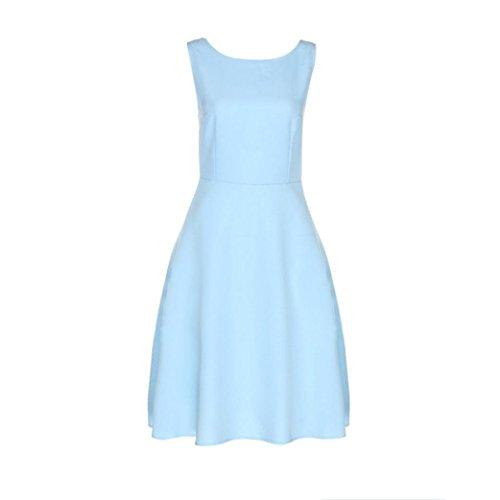 Damen Ärmellos O Hals Jahrgang Kleid (blau, L)