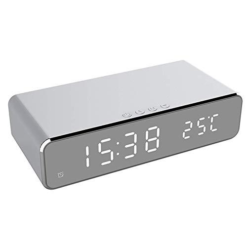 FHISD Reloj despertador eléctrico LED con termómetro digital y reloj de espejo HD con cargador inalámbrico para teléfono y fecha