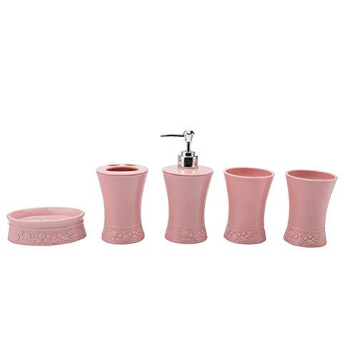 TOPBATHY - Set di 5 accessori da bagno, portaspazzolino, portasapone, portasapone, vanity ensemble regalo (rosa)