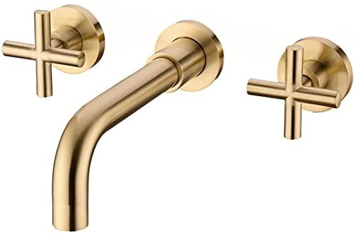ZYDSN Grifo de baño, Grifo montado en la Pared de la manija Doble y válvula áspera incluida,Gebürstetes Gold