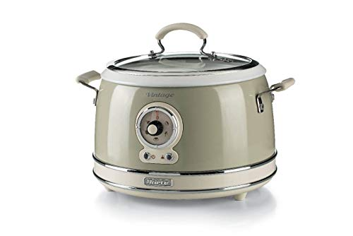 Ariete 2904, Rice Cooker, Cuociriso Slow Cooker, Cottura a Vapore, Linea Vintage, 3,5 L, Rivestimento Ceramica Antiaderente, 650 W, Beige