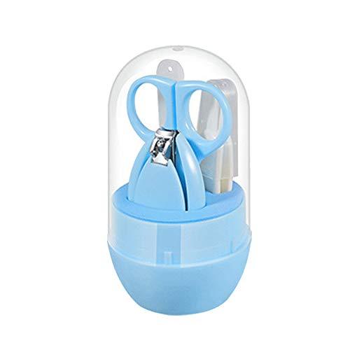 4 Stks Baby Nagelverzorging Set Babyverpleging Manicure Nagels Trimmer Schaar Tondeuse Met Cartoon Leuke Opbergdoos, Draagbare Huishoudelijke Set,Blue