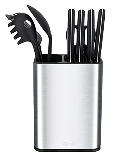 Cookit Soporte Cuchillos - 2 en1 Porta Cuchillos de Acero Inoxidable, Portacuchillos desmontable con ranura para tijeras, porta utensilios de cocina