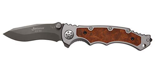 Eickhorn - Klappmesser|Secutor Silber, silberne Klinge Holz | Klingenlänge: 8,5 cm | Einhandmesser - Taschenmesser - Solingen - Messer | rostfrei