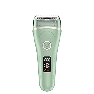 Electric Lady Shaver Bikini Trimmer, Wet & Dry Rechargeable Cordless Painless Electric Razor for Women, LED Display Razor for Legs Underarms (Green)