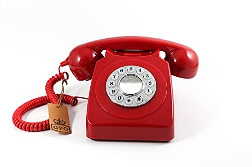 GPO 746 Teléfono fijo de botones con estilo retro de los años 70 - Cable en espiral, timbre...