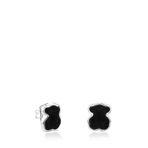 TOUS New Color - Pendientes de Plata de Primera Ley con Ónix Negro, Cierre Presión - Motivo: 0.7 cm