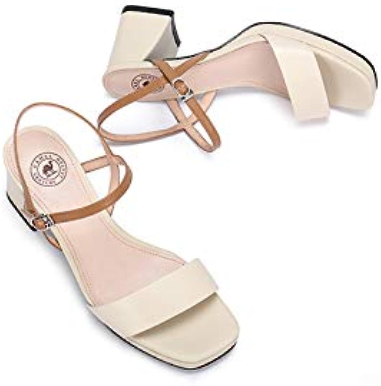 DABAOBEI Abendgesellschaft Prom Hochzeit Brautschuhe Sandalen Sommer Elegante High High Heels Dick Mit Hohlgürtel Sandalen Damenschuhe  befasst sich mit Verkauf