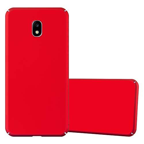 Cadorabo Custodia per Samsung Galaxy J3 2017 in Rosso Metallo - Rigida Cover Protettiva Sottile con Bordo Protezione - Back Hard Case Ultra Slim Bumper Antiurto Guscio Plastica