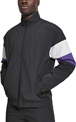 Urban Classics Herren 3-Tone Crinkle Track Jacket Jacke Blk/Wht/Ultraviolet Größe: M