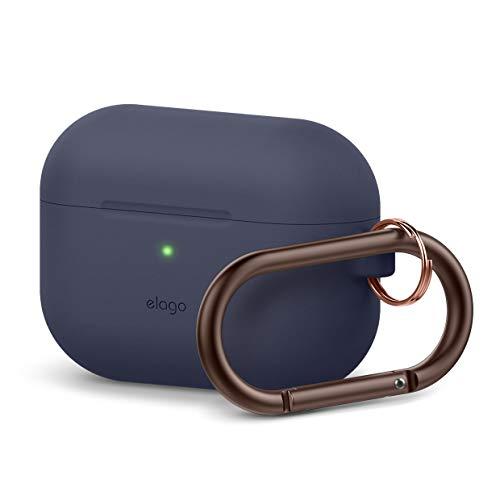 elago Original Silikon Hülle Schutzhülle Case Kompatibel mit Apple AirPods Pro (2019) – 360 Grad Voller Schutz, Hochwertiges Silikon [Passform Getestet] (mit Karabiner, Jean Indigo)