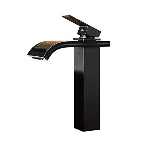 Wasserfall Hoch Waschbecken Mischer-Hahn-Glasauslauf Einhebel, Mono ORB Voll Kupfer, Kalt- und Warmwasseranschluss Vorhanden für Garderobe Washroom