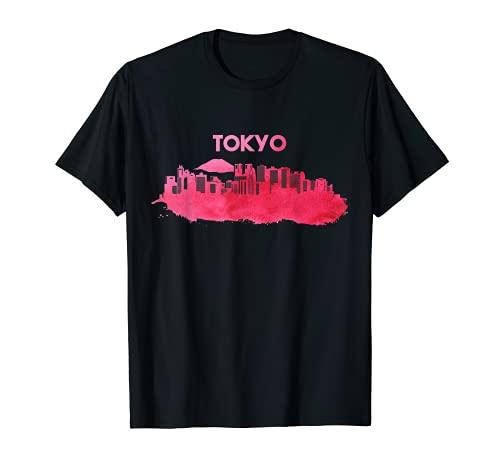 Tokio Skyline Acuarela Japón Japón Souvenir Camiseta