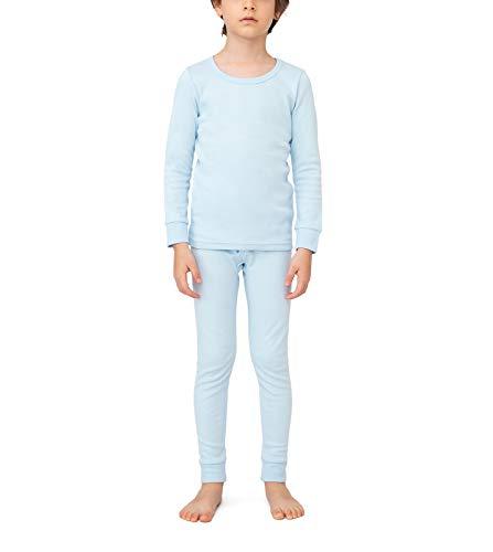 LAPASA Boys 100% Cotton Thermal Underwear Long John Set Winter Base Layer Top and Bottom B10 (X-Small, Sky Blue)