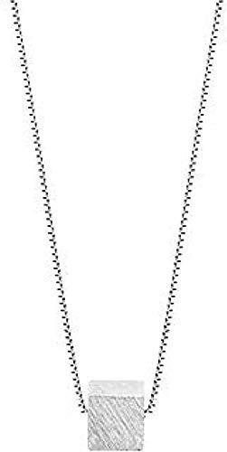 Yiffshunl Collar Cadena de clavícula Femenina Cadena de Temperamento Simple Pequeño Colgante Cuadrado Collar con Colgante Niñas Niños Regalo