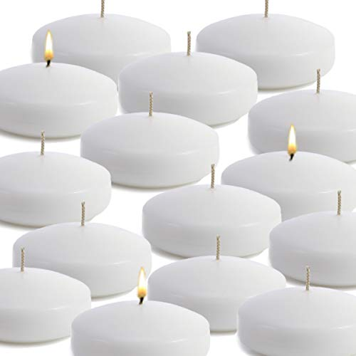 CandleNScent Unscented Floating Candles | Large 3 Inch - Fits in 3 Inch Vase and Above | White| Floats On Water | Made in USA (Pack of 36)