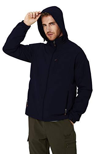 RAISEVERN Herren Windbreak Jacke wasserdichte dunkelblaue leichte lässige Bergsteigerjacke mit Reißverschluss und Kapuze XL