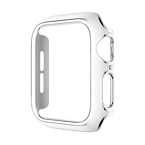 ZLRFCOK Parachoques de PC de varios colores para Apple Watch Cover Series 6 SE 5 4 3 Funda protectora para iWatch de 40 mm, 44 mm, 42 mm, 38 mm (color: blanco plateado, diámetro de la esfera: 42 mm)
