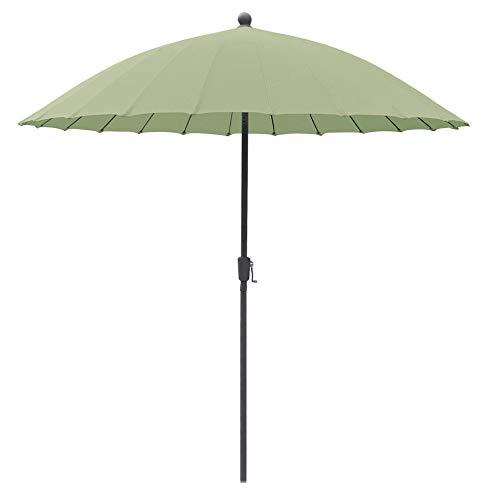 greemotion Sonnenschirm Sizilien, Ø 270 cm, großer Schirm mit Sonnenschutz UV50+, Marktschirm mit Kurbel, Gartenschirm anthrazit / salbeigrün