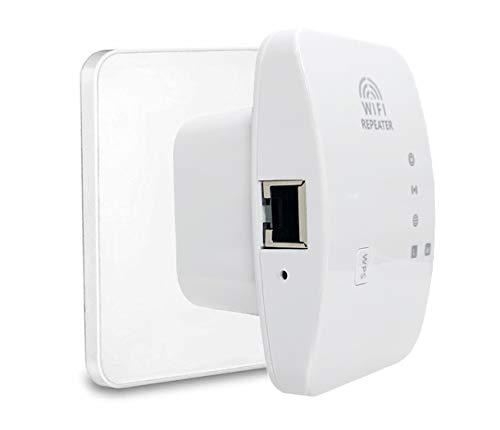 Muljexno Repetidor WiFi, Amplificador WiFi 300Mbit / s 2.4GHz Repetidor WiFi, con Modo repetidor/AccessPoint/WPS/función de Puerto LAN Extensor de Alcance WiFi, Adecuado para jardín y Sala de Estar