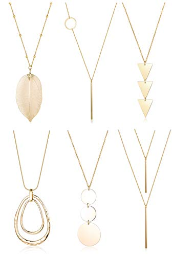 FUNRUN JEWELRY 6PCS Long Pendant Necklace Set Bar Circle Leaf Y Necklace Arrow Statement Necklace for Women (A:Silver tone+Gold tone) (B: Gold tone)