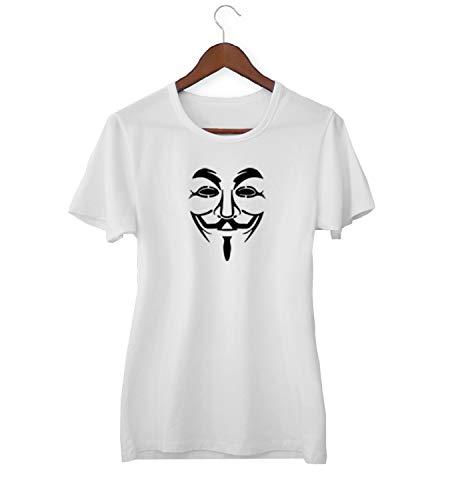 KLIMASALES Guy Fawkes Klassiek Masker Enigma Cyber World_KK018763 Shirt T-shirt voor Vrouwen - Wit