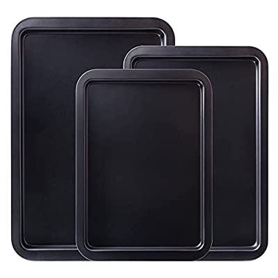 Amazqi Baking Sheet Nonstick, Cookie Sheets for Baking Nonstick 3 Set, Heavy Duty Large Size Carbon Steel 15/17/19 Inch Premium Baking Pan Tray, Non Toxic Durable Easy Clean for Home Use