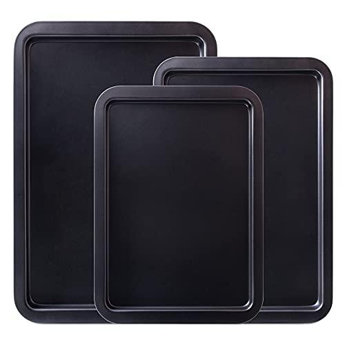 Amazqi Nonstick Baking Sheet Cookie Pans Set - 3 Piece Bakeware Set - Non Toxic PFOA & PFOS Free Easy Clean Baking Pan - Dishwasher Safe Sheet Pan - Thick Heavy Duty Carbon Steel (3 Pack)