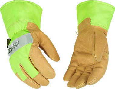 Kinco Lined Hi-Vis Green Grain Pigskin Palm with Safety Cuff