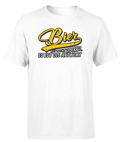 Bier ist Nicht die Frage, es ist die Antwort! T-Shirt Organic Unisex, Farbe: Weiß, Größe: XXX-Large