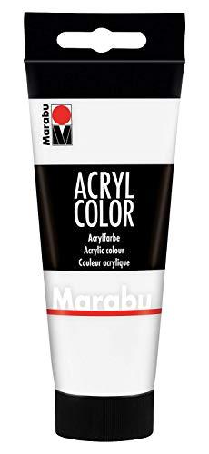 Marabu 12010050070 - Acryl Color weiß 100 ml, cremige Acrylfarbe auf Wasserbasis, schnell trocknend, lichtecht, wasserfest, zum Auftragen mit Pinsel und Schwamm auf Leinwand, Papier und Holz