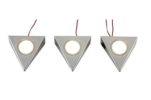 3er Set Unterbau Dreieck Strahler Edelstahl LED inkl. Trafo Dreieckstrahler Küche Küchenleuchten Arbeitsplattenbeleuchtung