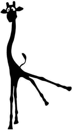 Alpqq Auto-Aufkleber mit Giraffen-Cartoon-Motiv, Auto-Aufkleber, Tür-Dekor, Vinyl, Schwarz/Silber, 2 Stück, Weiß, 9,5 cm x 16,9 cm, alpqq (Farbe: Schwarz, Größe: 9,5 cm x 16,9 cm)